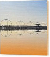 Southport Pier Reflections  Wood Print