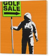 Space Golf Sale Wood Print