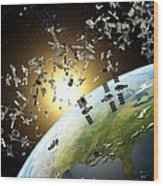 Space Junk, Conceptual Artwork Wood Print