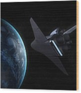Space Shuttle Backdropped Against Earth Wood Print