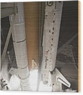 Space Shuttle Discovery Lifts Wood Print