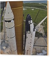 Space Shuttle Endeavour Lifts Wood Print
