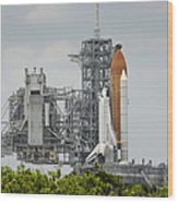 Space Shuttle Endeavour On The Launch Wood Print