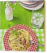 Spaghetti Al Pesto Wood Print
