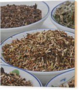 St Johns Wort Dried Herb Wood Print by Photo Researchers, Inc.