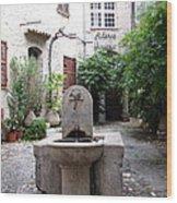 St. Paul De Vence Fountain Wood Print