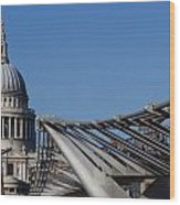 St Pauls Cathedral And The Millenium Bridge  Wood Print
