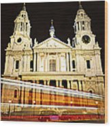 St. Paul's Cathedral In London At Night Wood Print
