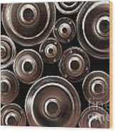 Stack Of Batteries Wood Print by Carlos Caetano