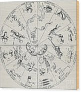 Star Map From Kirchers Oedipus Wood Print