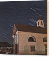 Star Trails Behind Vodice Chapel Wood Print