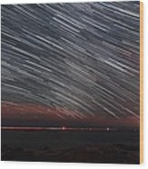 Star Trails Wood Print by Laurent Laveder