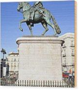 Statue Of King Charles IIi In Madrid Wood Print