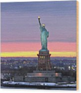 Statue Of Liberty At Sunset Wood Print