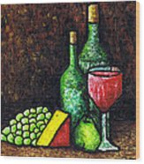 Still Life With Wine And Cheese Wood Print