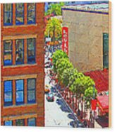 Stockton Street San Francisco . View Towards Union Square Wood Print by Wingsdomain Art and Photography