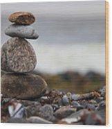 Stones At The Sea Wood Print by Falko Follert