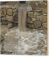 Storm Sewer Water Rushes Into A Stream Wood Print