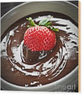 Strawberry Dipped In Chocolate Wood Print