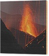 Stromboli Eruption, Aeolian Islands Wood Print