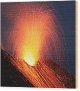 Strombolian Eruption Of Stromboli Wood Print