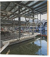 Structural Steel Construction Creating Wood Print by Don Mason