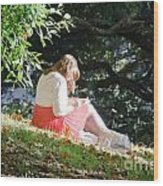 Student Girl In The Autumn Park Wood Print