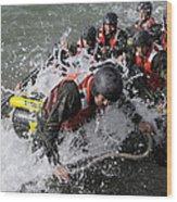 Students In Basic Underwater Wood Print by Stocktrek Images