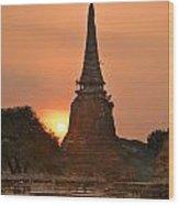 Stupa Chedi Of A Wat In Ayutthaya Thailand Wood Print