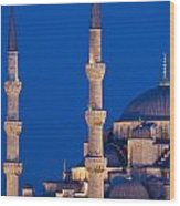 Sultanahmet Or Blue Mosque At Dusk Wood Print