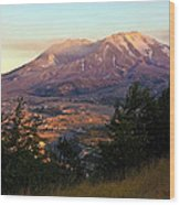 Sun Going Down At Mt. St. Helens Wood Print