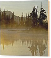 Sunlight On An Alpine Lake Wood Print