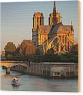Sunrise Over Notre Dame Wood Print