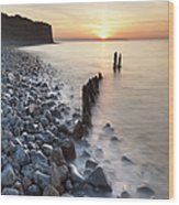 Sunset At The Remains Of Lilstock Pier Wood Print