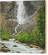 Takakkaw Falls Waterfall In Yoho National Park Canada Wood Print