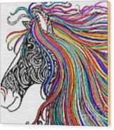 Tattooed Horse Wood Print
