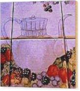 Teapot And Berries Wood Print