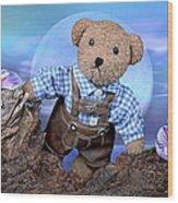 Teddy On Tour Wood Print