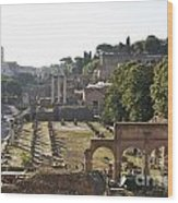 Temple Of Vesta Arch Of Titus. Temple Of Castor And Pollux. Forum Romanum Wood Print by Bernard Jaubert