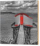 Tenby Lifeboat House Colour Pop Wood Print