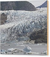 Terminal Moraine And Glacial Lake Wood Print