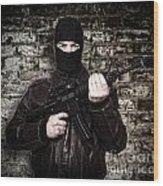 Terrorist Portrait Wood Print by Gualtiero Boffi