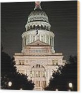 Texas Capitol Building At Night - Vert Wood Print
