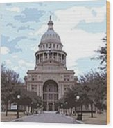 Texas Capitol Color 16 Wood Print