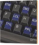 Text Message Keyboard Wood Print by Blink Images