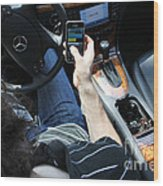 Texting And Driving Wood Print