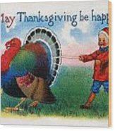 Thanksgiving Card, 1900 Wood Print
