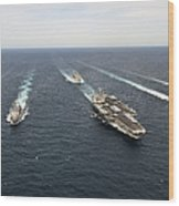 The Enterprise Carrier Strike Group Wood Print by Stocktrek Images