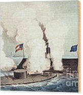 The Monitor And The Merrimac, 1862 Wood Print