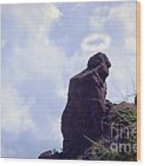 The Praying Monk With Halo - Camelback Mountain Wood Print